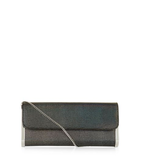 Black Textured Metal Trim Clutch | New Look