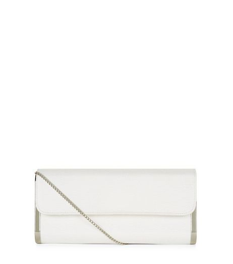 White Metal Side Clutch  | New Look