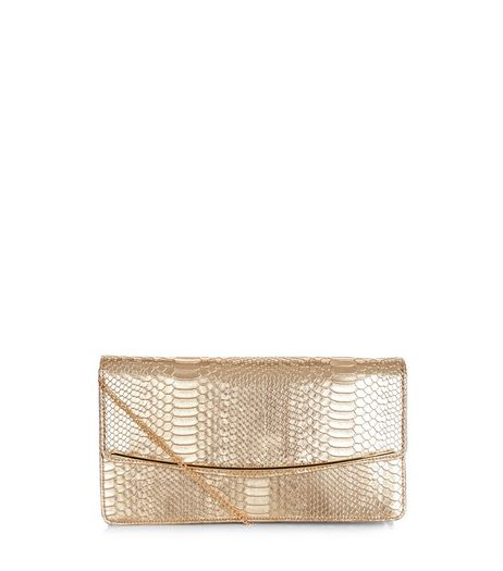Gold Snakeskin Texture Clutch  | New Look