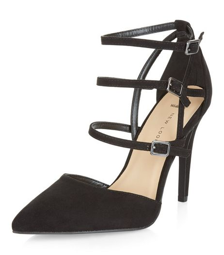 Wide Fit Black Suedette Strappy Heels  | New Look