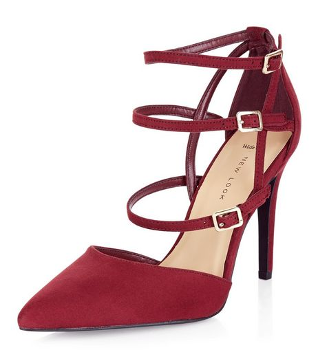 Wide Fit Dark Red Suedette Strappy Heels  | New Look