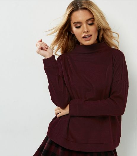 Dark Purple Fine Knit Funnel Neck Sweater | New Look