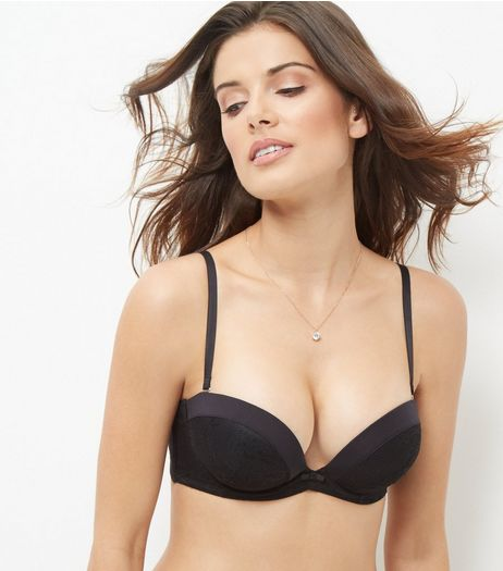 Black Satin Cuff Bra | New Look