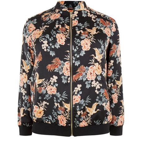 Curves Black Sateen Floral Print Bomber Jacket` | New Look