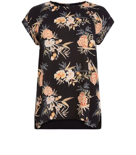 Curves Black Floral Print Woven Top | New Look