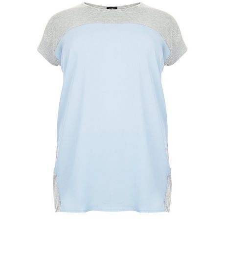Curves Pale Blue Colour Block Woven T-Shirt | New Look