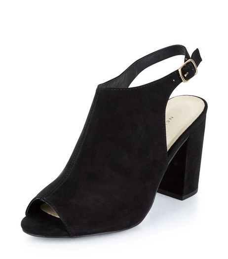 Wide Fit Black Comfort Suedette Sling Back Heels  | New Look