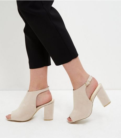 Wide Fit Light Brown Comfort Suedette Sling Back Heels | New Look