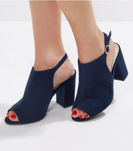 Wide Fit Navy Comfort Sling Back Peep Toe Heels | New Look