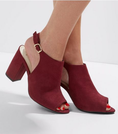 Wide Fit Red Comfort Sling Back Peep Toe Heels | New Look