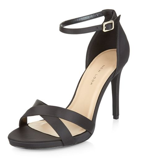 Wide Fit Black Sateen Cross Strap Heeled Sandals  | New Look
