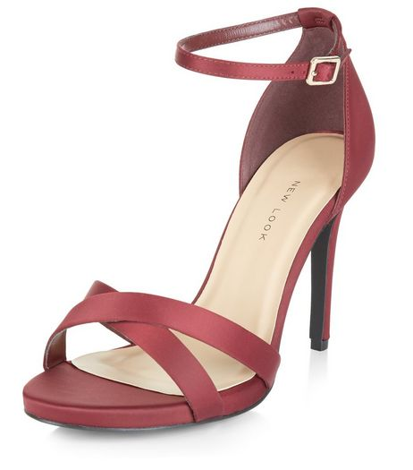 Wide Fit Dark Red Sateen Cross Strap Heeled Sandals  | New Look