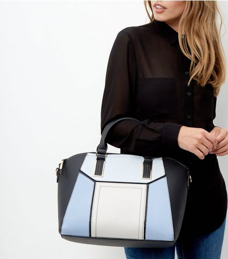 Blue Geo Panel Tote Bag | New Look
