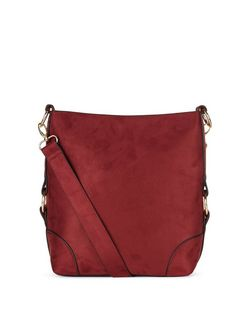 Dark Red Suedette Bucket Bag  | New Look