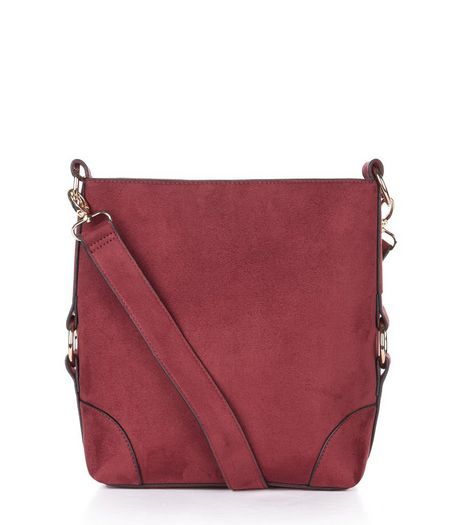 Burgundy Suedette Bucket Bag | New Look