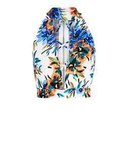 Parisian White Tropical Print Lattice Front Crop Top  | New Look