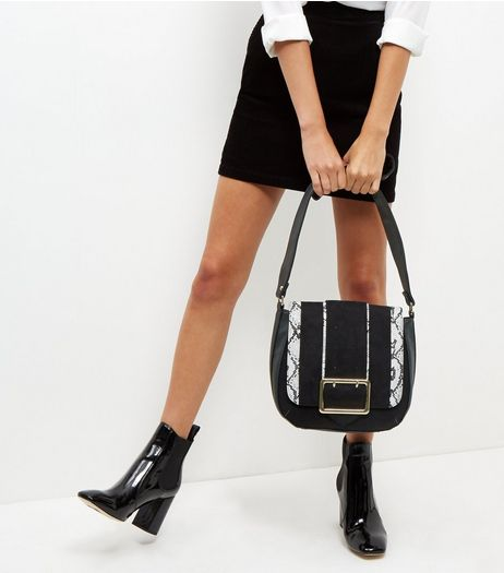 Black Snakeskin Print Panel Saddle Bag | New Look