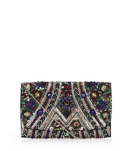 Black Sequin Embellished Clutch | New Look