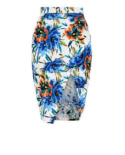 Parisian White Tropical Print Wrap Midi Skirt | New Look