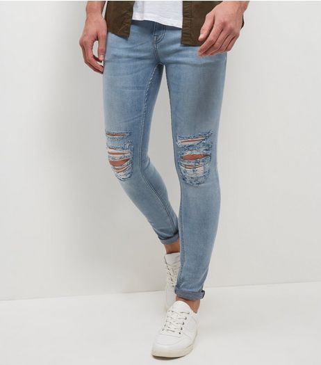 Pale Blue Washed Ripped Knee Super Skinny Jeans | New Look