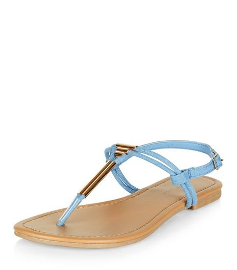 Wide Fit Blue Denim Metal Trim Sandals  | New Look