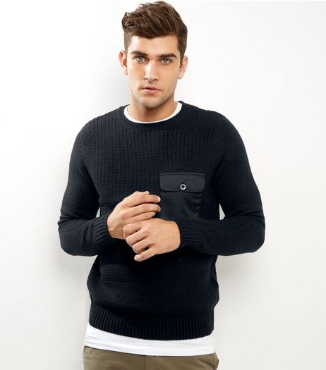 Black Ribbed Pocket Front Jumper | New Look