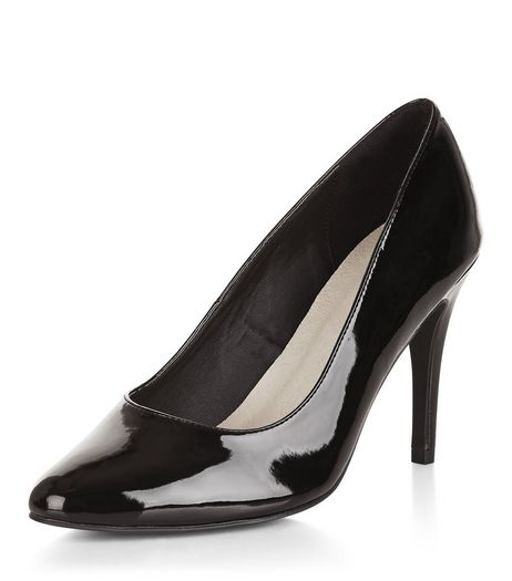 Wide Fit Black Comfort Patent Court Shoes  | New Look