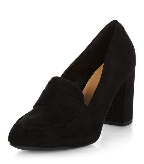 Wide Fit Black Suedette Loafer Block Heels  | New Look