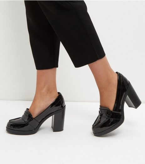 Wide Fit Black Patent Loafer Block Heels  | New Look