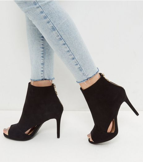Wide Fit Black Suedette Cut Out Peep Toe Heels | New Look