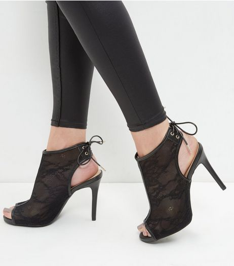 Wide Fit Black Lace Peep Toe Tie Back Heels | New Look