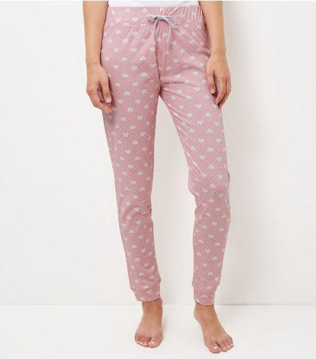 Pink Heart Print Pyjama Bottoms  | New Look