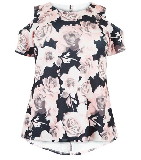 Curves Black Floral Print Cold Shoulder Top | New Look