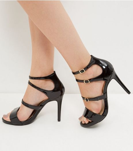 Wide Fit Black Patent Multi Strap Heels  | New Look