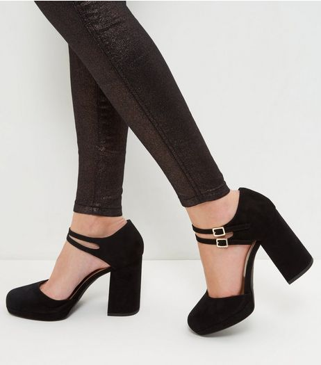 Wide Fit Black Suedette Double Ankle Strap Block Heels  | New Look