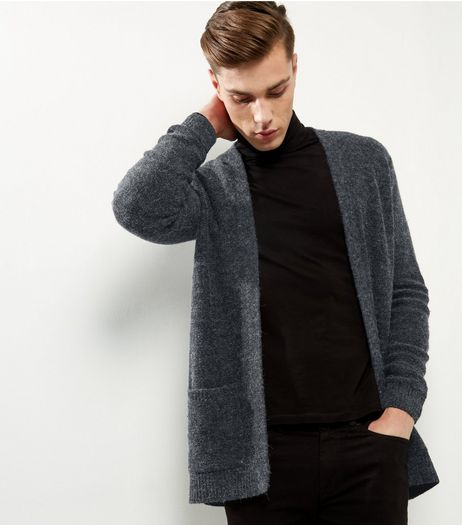 Dark Grey Brushed Waterfall Cardigan | New Look
