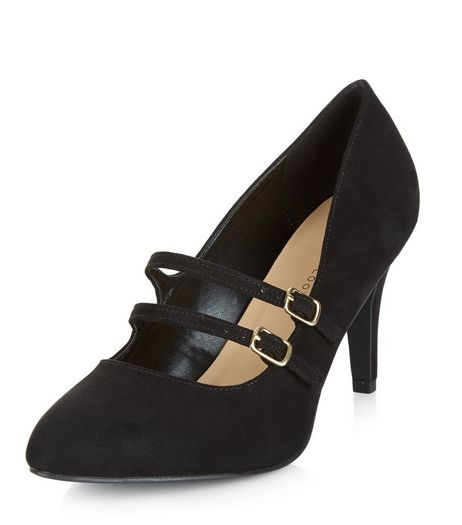 Wide Fit Black Suedette Double Strap Front Heels  | New Look