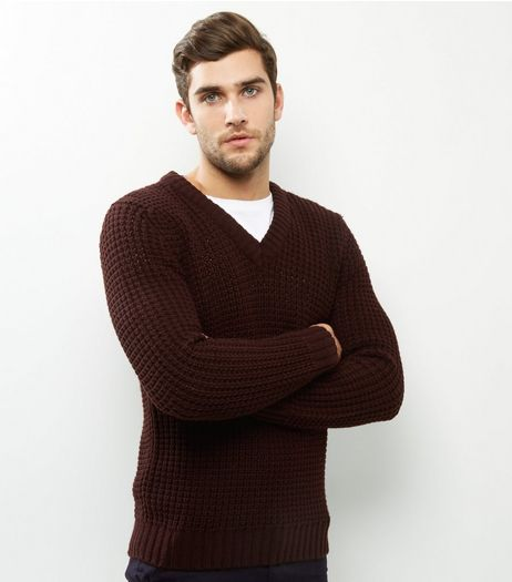Burgundy V Neck Long Sleeve Jumper  | New Look
