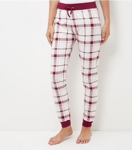 Dark Red Check Pyjama Bottoms | New Look