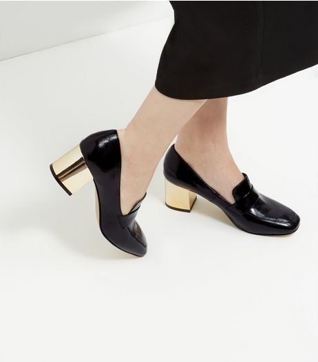 Black Patent Metal Heel Loafers | New Look