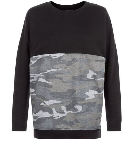 Black Colour Block Camo Print Panel Sweater  | New Look