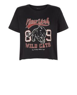 Black New York Wild Cats Crop Top  | New Look