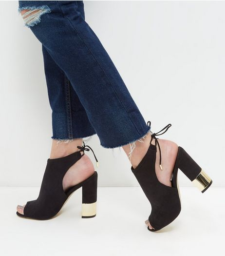 Black Suedette Peep Toe Metal Trim Block Heels  | New Look