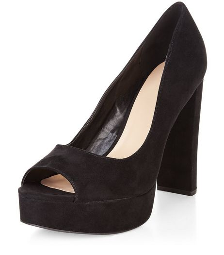 Black Suedette Peep Toe Platform Heels  | New Look