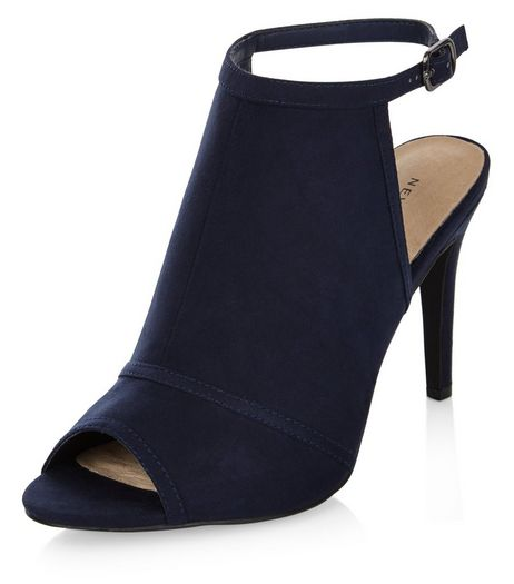 Navy Comfort Suedette Peep Toe Heels | New Look