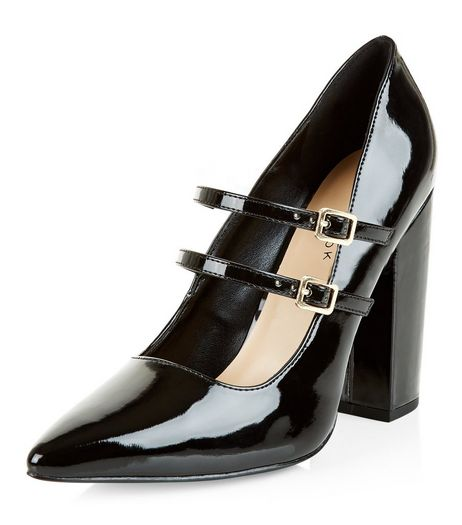 Black Patent Doubel Strap Pointed Heels  | New Look