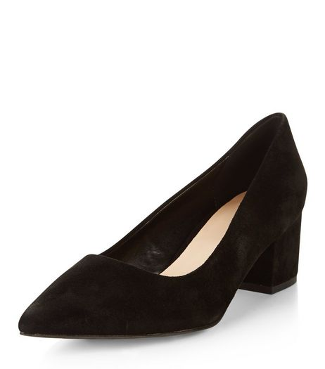Black Leather Pointed Block Heels  | New Look