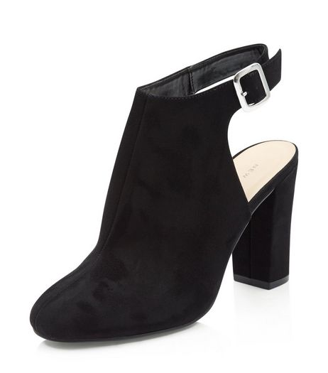 Black Suedette Sling Back Block Heels  | New Look