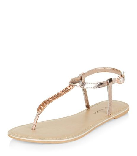 Wide Fit Rose Gold Leather Bead Trim Sandals  | New Look