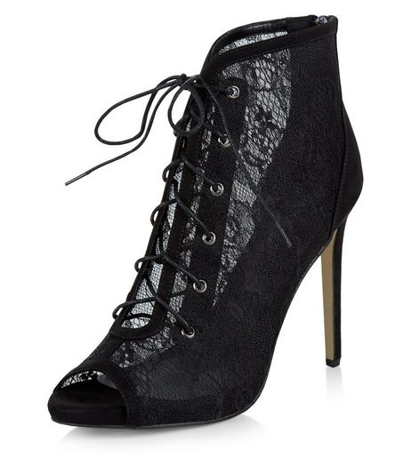 Black Lace Peep Toe Ghillie Heels  | New Look